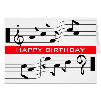 Musik för grattis på födelsedagenkort noterar stäl OBS kort