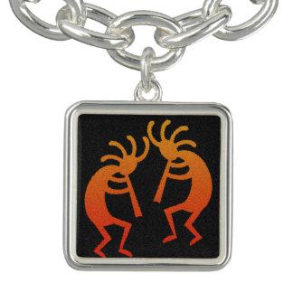 Musik för orange för svart för dansKokopelli Berlockarmband