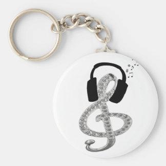 Musik Gclef med hörlurar med mikrofon Rund Nyckelring