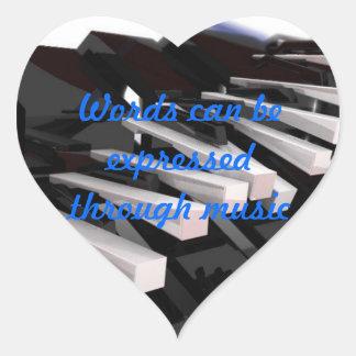 Musik Hjärtformat Klistermärke