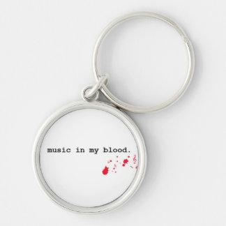 Musik i min blodnyckelring rund silverfärgad nyckelring