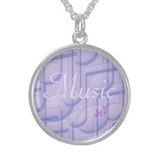 Musik i purpurfärgat sterling silverrundahalsband halsband med rund hängsmycke