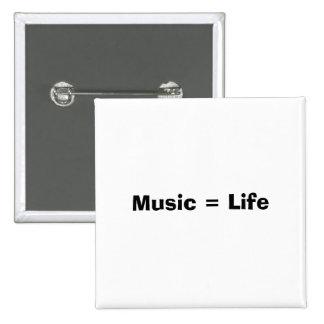 Musik = liv standard kanpp fyrkantig 5.1 cm