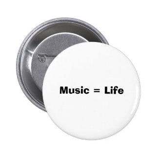 Musik = liv standard knapp rund 5.7 cm