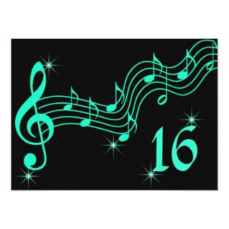 Musik noter för sweet sixteenfödelsedaginbjudan 14 x 19,5 cm inbjudningskort