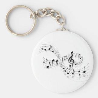 Musik noter på en bemanna fodrar Keychain Rund Nyckelring