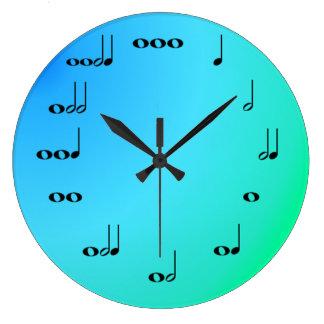 Musik noter tar tid på på blått och grönt stor klocka