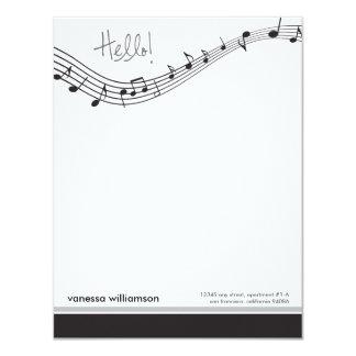 Musik noteranpassningsbarlägenheten noterar kort personliga inbjudningskort