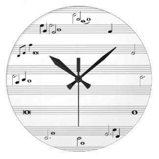 Musik noterar det svartvita stämpeluret - stor klocka