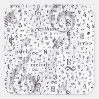 Musik noterar mönstermusiktema fyrkantigt klistermärke