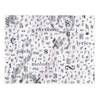 Musik noterar mönstermusiktema vykort