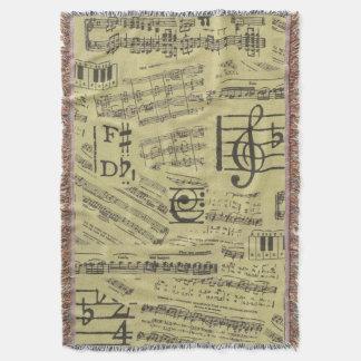 Musik noterar tema för musik för symbolkastfilt filt