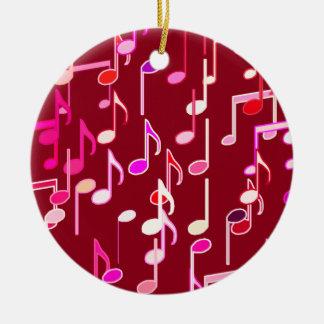 Musik notertryck - burgundy som är mång- julgransprydnad keramik