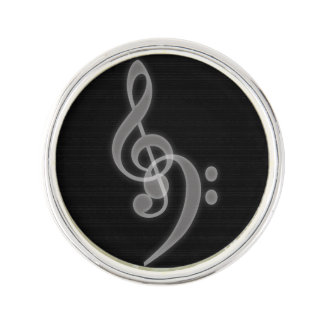 Musik - Treble och basklav Kavajnål