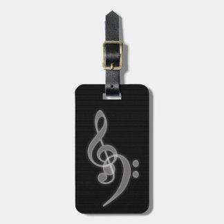 Musik - treble- och basklavbagagemärkre bagagebricka