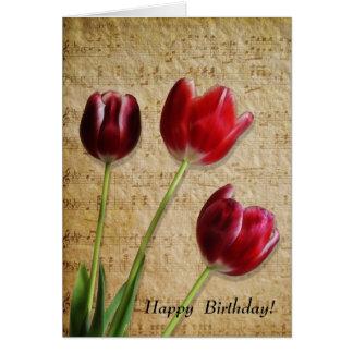 Musik- & tulpanfödelsedagkort hälsningskort