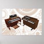 Musikaffisch: Vintagetangentbord: 3D modellerar Affischer