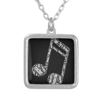 musikalen för musikläraregåva noterar silverpläterat halsband