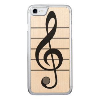 Musikalen noterar Iphone 6 trä Carved iPhone 7 Skal