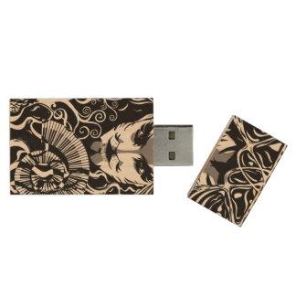 Musikalisk catmanUSB, 8gb, rektangel Trä USB-minne