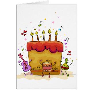 Musikalisk födelsedagtårta hälsningskort