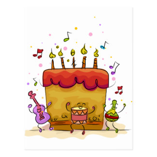 Musikalisk födelsedagtårta vykort