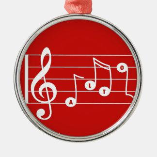 Musikalisk prydnad för röd alt- sångare julgransprydnad metall