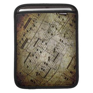 Musikalisk ställning för gammalt lakan, grungemusi iPad sleeve