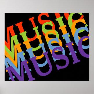 musikaliska färgrika väggar poster
