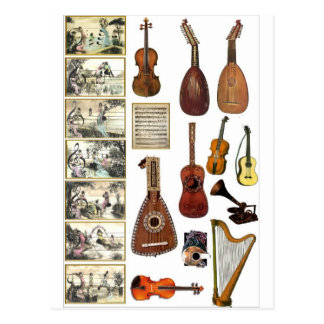 Musikaliska platser och instrumenterar vykort