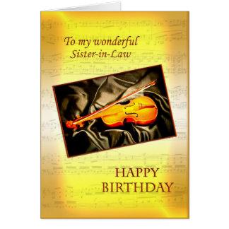 Musikaliskt födelsedagkort för svägerska med en hälsningskort