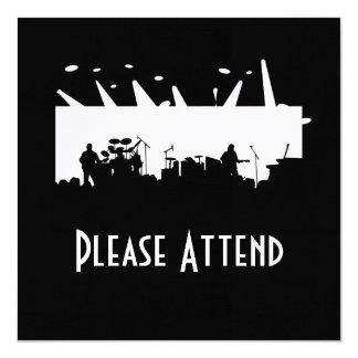 Musikbandet arrangerar på konsertsilhouetten B&W Fyrkantigt 13,3 Cm Inbjudningskort