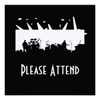 Musikbandet arrangerar på konsertsilhouetten B W Personliga Inbjudningskort