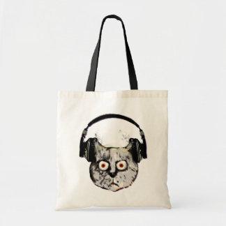 musikdj-katt med headphonen tygkassar
