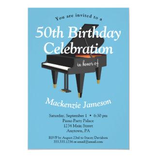 Musiker för musik för pianofödelsedaginbjudan 12,7 x 17,8 cm inbjudningskort