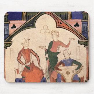 Musiker som leker castanets och en psaltery musmatta