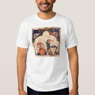 Musiker som leker castanets och en psaltery t-shirt
