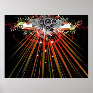Musikhögtalare i flyg med laser strålar poster