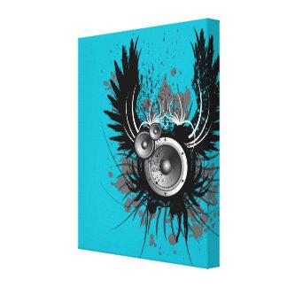 musikillustration med högtalaren och vingar canvastryck