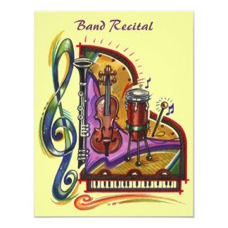 Musikmusikbandet instrumenterar högläsning- eller 10,8 x 14 cm inbjudningskort