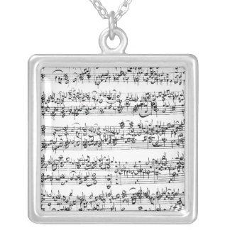Musikställning av Johann Sebastian Bach Silverpläterat Halsband