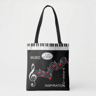 Musiktotot - tangentbord - noterar - hjärtor tygkasse