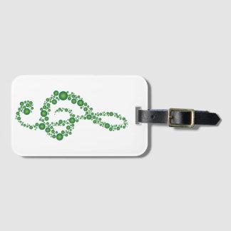 MusikTrebleCleff grönt pricker bagagemärkren Bagagebricka