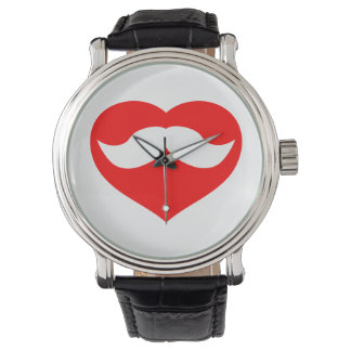 Mustasch i hjärta armbandsur