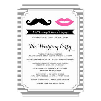 Mustasch- & läpparbröllopsprogram 12,7 x 17,8 cm inbjudningskort
