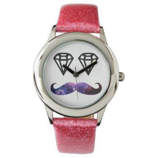 Mustasch och diamanter armbandsur