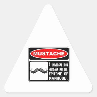 Mustaschen eller moustachen i fara undertecknar triangelformat klistermärke