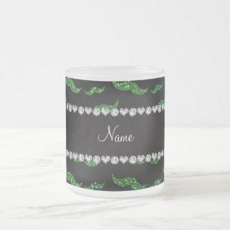 Mustascher för glitter för personlignamngrönt kaffe kopp