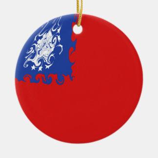 Myanmar Gnarly flagga Rund Julgransprydnad I Keramik
