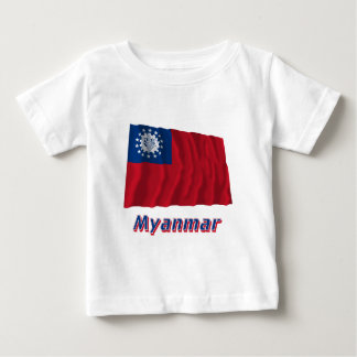 Myanmar som vinkar flagga med namn 1974-2010 t-shirts